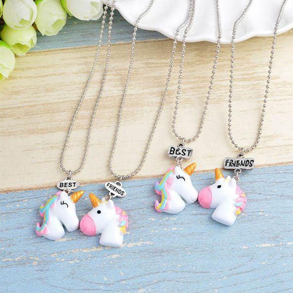 2 Pcs/Set Hot Sale Cute Unicorn Pendant Best Friends Necklace for Kids Girls BFF Friendship Necklace Jewelry Ornaments