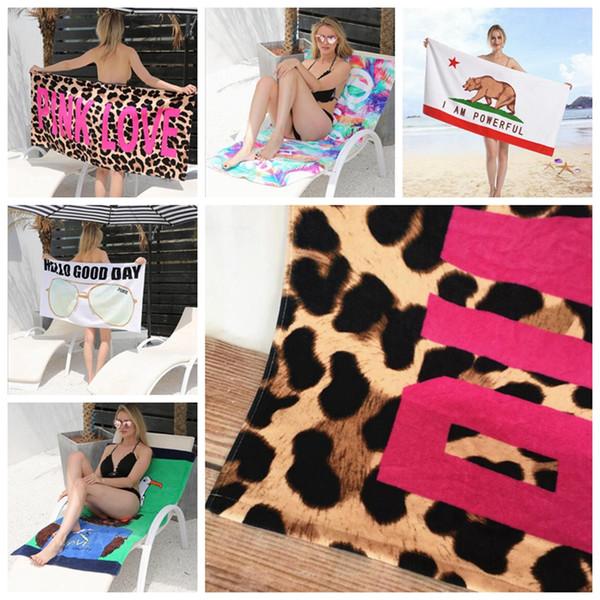 PINK Love Letter Beach Towel Cotton Printed Sport Bath Towel Plus Size Absorbent Washcloth Beach Mat 145*70cm DHW729