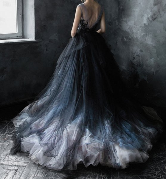 Blush and Black Wedding Dress Vintage Ball Gown Style Gray Blue Illusion Neckline with Lace Applique Princess Bridal Gown Colored