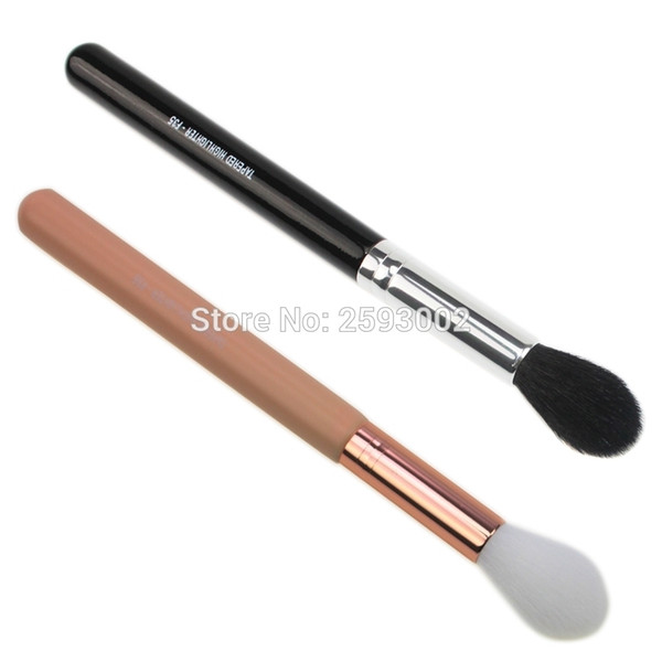 1 PC F35 - TAPERED HIGHLIGHTER Perfect Professional Individual Face Brush Cosmetic Makeup Brush Black With Pink Handle D18110902
