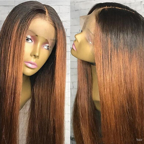 Virgin Brazilian Straight Ombre Blonde Full Lace Wigs Human Hair Glueless Two Tone Color Lace Front Wig #1b #30 Color for African American