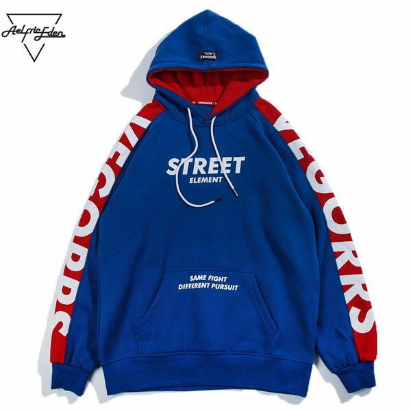 Aelfric Eden Hoodies Männer 2018 Mode Hoodie Sweatshirt Seite Brief Druck Farbe Block Harajuku Moletom Casual Streetwear VE07