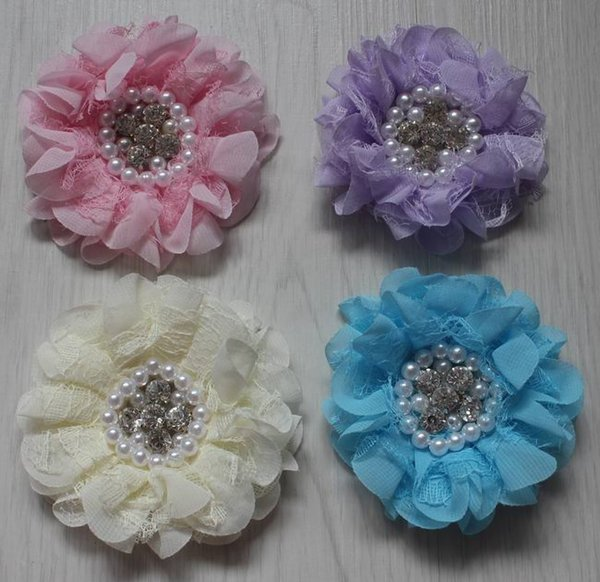 70pcs 9cm pearl center chiffon lace fabric flowers for girls hair accessories,chiffon flowers for babies headbands,kids hair clip flowers