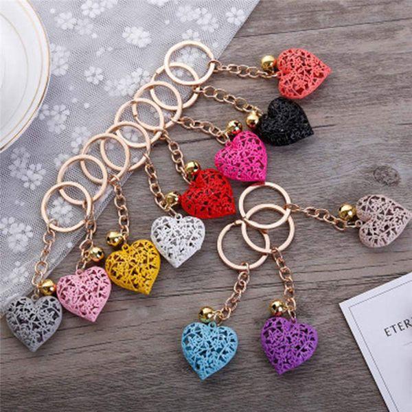 New Design Random Hollow Romantic Heart Bell Jewelry Keychain Women Key Holder Chain Bag Pendant Charm