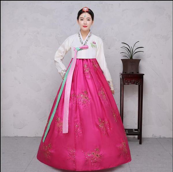 4 Farben Pailletten koreanische traditionelle Kostüm Frauen elegante Hanbok koreanischen Kleid