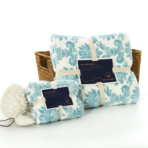 Large Monogrammed Beach Towels.Blue Print Pattern High Quality 100 Cotton Hand Towel Sets Bath For Adults Bath Towel Washcloth Large Women Man Face Bath Towel Sets Monogrammed
