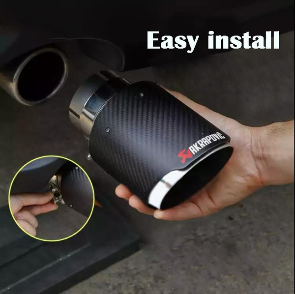 best selling GTPARTS 1PC Akrapovic Style Carbon Fibre Car Exhaust Tip Muffler Tail Pipe Matte Carbon fiber cover