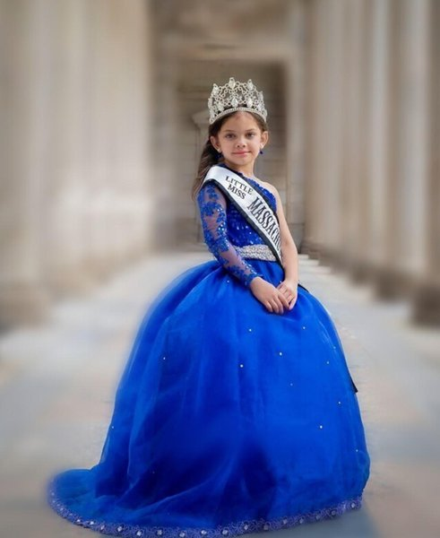Royal Blue Girl's Pageant Dresses With Sash One Shoulder Beaded Appliques Flower Girls Dresses Long Sleeves Kids prom dress Birthday Dress