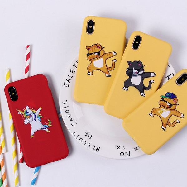 Hip Hop Dog Phone Cases Cat Panda Unicorn For Iphone X Funny TPU Soft Cell Phone Case For Iphone 6 7 8 Plus