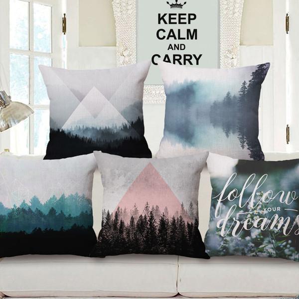 Scenic Mountain Forest Woods Cubiertas de cojines para árboles Triángulos geométricos nórdicos Funda de cojín a cuadros Sofá de lino decorativo Funda de almohada de algodón
