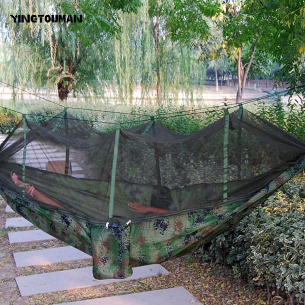 YINGTOUMAN Portable Indoor Outdoor Hängematte für Backpacking Camping Hängebett mit Moskitonetz Schlafen Hängematte Travel Kits