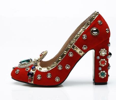 Großhandel Red Suede Block Heels Damen Schuhe Bling Studded Strass High Heels Hochzeit Schuhe Runde Zehe Slip On Damen Pumps Von Fashiontrends888,