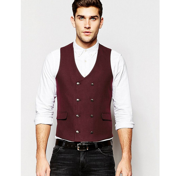2017 Real Chaleco Hombre Hot Sale Custom Made Modern Fit Suit Separate Vest Slim Waistcoat In Burgundy Business Vests For Man