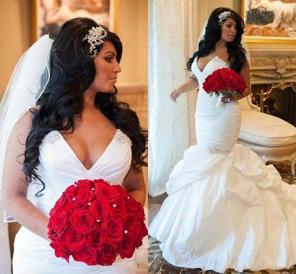 Exquisite Taft Meerjungfrau Brautkleider Perlen drapiert Schatz Plus Size Fitted 2018 Arabien Brautkleid Zug Kirche Braut Kleid Custom
