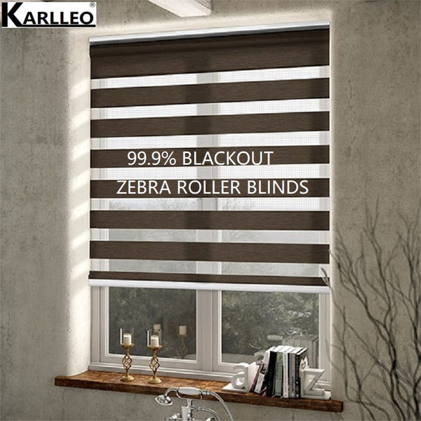 Window 100% Blackout Zebra Roller Blinds Shades(Z-B10)Pattern Customized Size Finished Product