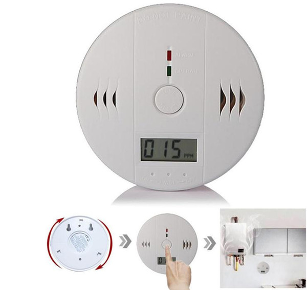 top popular Carbon Monoxide Detector Tester Poisoning CO Gas Sensor Alarm for Home Security Safety with Retail box Include 3pcs Battery SN984 2021