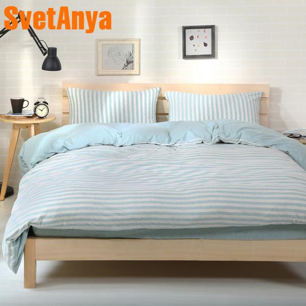 Svetanya Naked Sleep Biancheria da letto in cotone a righe Stripe Design Biancheria da letto di casa Set o copripiumino Lenzuolo copriletto