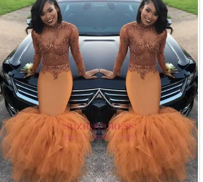Dust Orange Long Sleeves Mermaid Prom Dresses 2018 Beads Appliques Sequins Long Ruched Ruffle Evening Gown BA8084