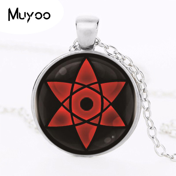 Naruto Sharingan Shippuuden Eyes Logo Pendant Necklace Vintage Necklace Silver Chain Choker Statement AL-123 HZ1