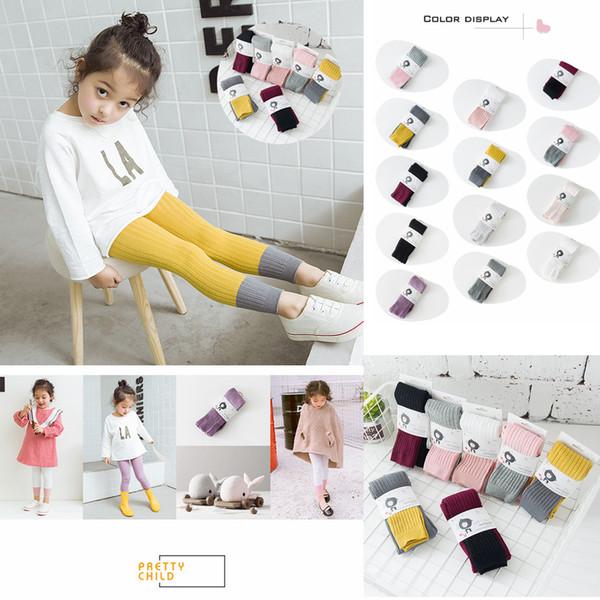 Bambini Ragazze Maglieria Calda Collant Neonato Bambino Collant Calze Leggings di cotone 1-8 anni Primavera Autunno pantaloni Abbigliamento AAA523