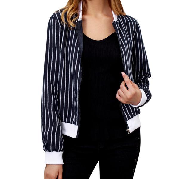 Slim Baseball short coat Women's Long Sleeve Blouse Striped Regular Zip Jacket #0816
