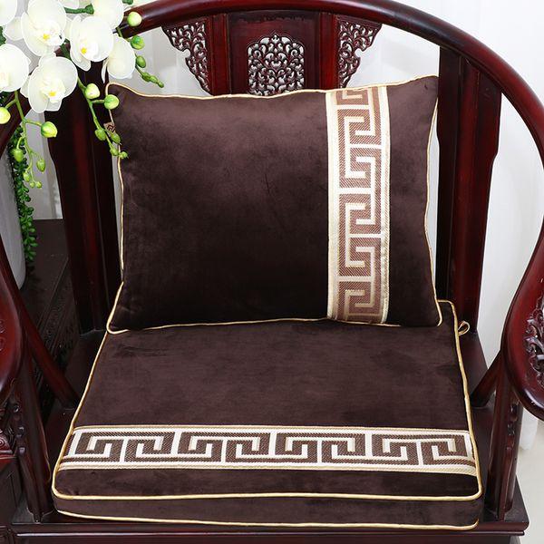 Patchwork Geometric Velvet Thick Big Cushion Chair Mat Seat Sofa Pad Luxury Seat Cushions for Chairs Armchair Lumbar Support Cushion Decor