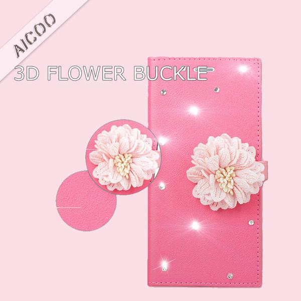 3D 꽃 자석 버클 다이아몬드 지갑 케이스 아이폰 X에 대 한 카드 슬롯 스탠드 커버 삼성 Note 9 S9 플러스 OPP