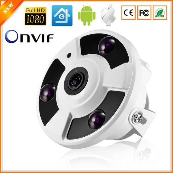 Telecamera panoramica IP 720P 960P 1080P Telecamera IP opzionale Wide Angle FishEye 5MP 1.7MM Obiettivo CCTV Indoor ONVIF 3 ARRAY IR LED