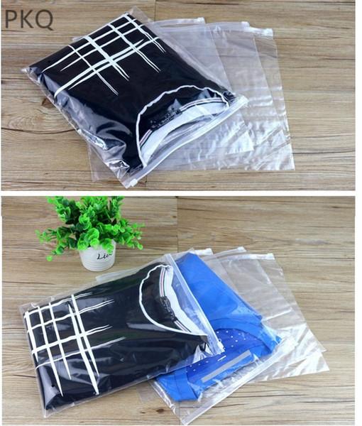 500pcs logo personalizzato Clear Plastic Storage Bag Ziplock Borse da viaggio Zip Lock Valve Slide cosmetici vestiti sacchetto di imballaggio