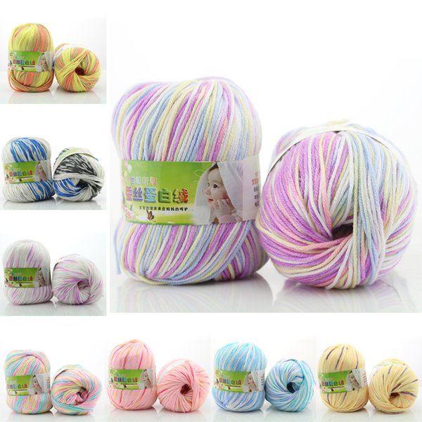 BAUMWOLLE 50g Bunte Strickwolle Garn Thread DIY Handgemachte Gestrickte Gewinde für Kind Baby Strick Häkeln Garn Weihnachtsgeschenk