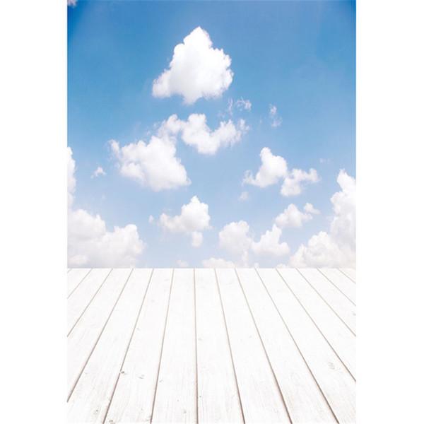Blauer Himmel weiße Wolken Kinder Kinder Foto Hintergrund gedruckt Baby Neugeborenen Fotografie Requisiten Studio Bild Schießen Kulissen Holzfußboden