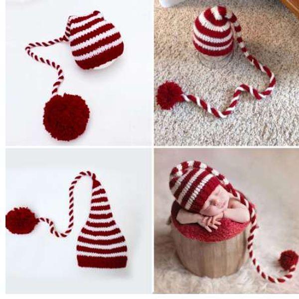 Bebê de tricô Longo Cauda Chapéu De Natal Recém-nascido Fotografia Adereços Vermelho Branco Stripe Crochet Chapéus Do Bebê Do Bebê Adereços