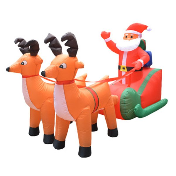 210cm Giant Inflatable Santa Claus Double Deer Sled LED Lighted Outdoor Christmas Decor New Year Decor Xmas Props Ornaments 2018 mascot