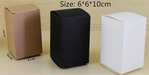 50pcs 6*6*10 White Black Kraft Paper Box DIY packaging box paper craft package free shipping