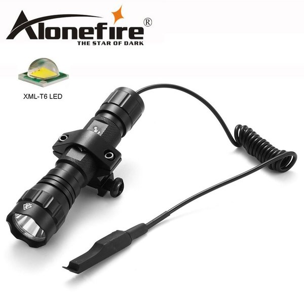 AloneFire 501Bs XML T6 LED Tactical Flashlight Portable Lantern Torch with Remote Pressure Switch Tactical Mount