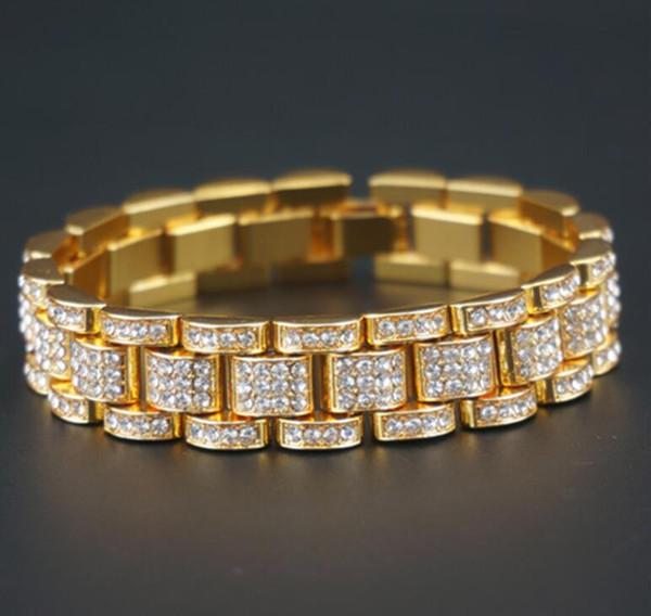 24 k pulseira de ouro relógio de prata com ligação de diamante homens de aço inoxidável estilo hip hop pulseiras moda jóias do punk 15mm