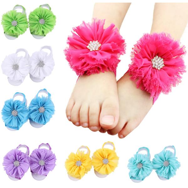 18colors Toddle Baby Feet Flower Crystal Descalzos Corbatas Chiffon Zapatos de flores lazos de muñeca Kids First Walker Shoes Baby Photography Props F9