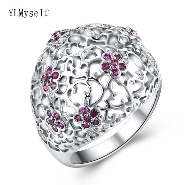 Big hollow ring trendy flower jewelry fashion women red crystal jewellery lovely finger rings