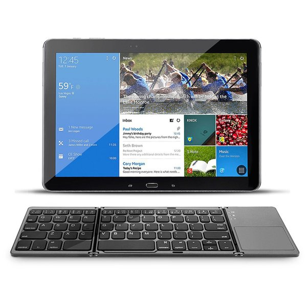 NEW Bluetooth Wireless Mini Keyboard 3 System Foldable Portable Twice Folding for ipad/Tablet/Phone/Desktop with Touchpad
