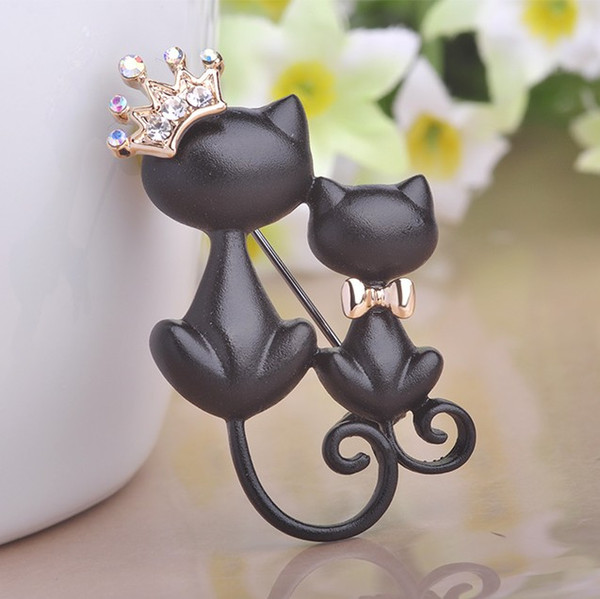 20 pcs Smooth Black Mother Daughter Cats Brooches Crystal Crown Queen Corsages Hijab Pin Women Hats Scarf Suit Brooch Clothes Buckles