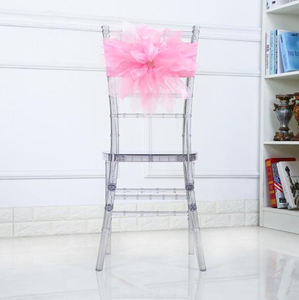 Organza Chair Sashes Chair Bows Wedding Party Xmas Chair Sashes Banquet Decoration Sheer Organza Fabric Pack