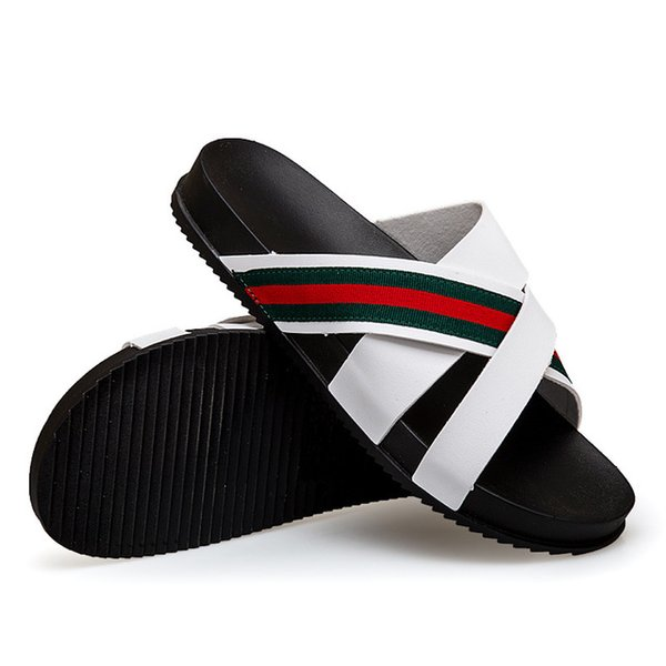 2018 Designer Men Sandals Shoes Luxury Slide Summer Slippers Green Red Green Striped Sandals Wide Flats Thick Flip Flops Size:40-45 Q-444