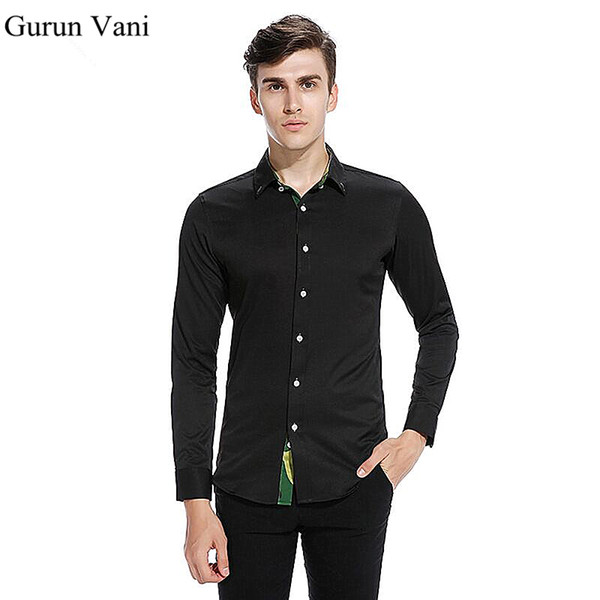 Camouflage Lining Men's Long Sleeve Shirts Business Style Mens Henry Collar Dress Shirts Fashion Casual Shirt Male Brand
