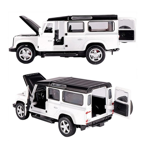 1/32 Land Rover Defender Alloy Model Car Acousto-optic Pull-back Car Toy free shipping