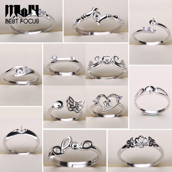Pearl Ring Settings 925 Sliver Rings para mujeres 20 estilos MIX DIY Rings Ajustes de joyería de tamaño ajustable Christmas Gift Statement Jewelry