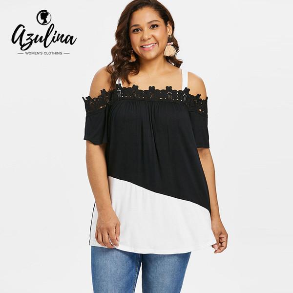 AZULINA плюс размер два тона холодное плечо футболка лето площадь шеи с коротким рукавом аппликация женщины Майка причинно дамы топы тройники