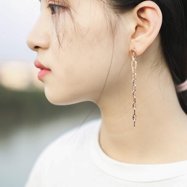 Simple Design Long Tassel Hanging Metal Crystal Earrings
