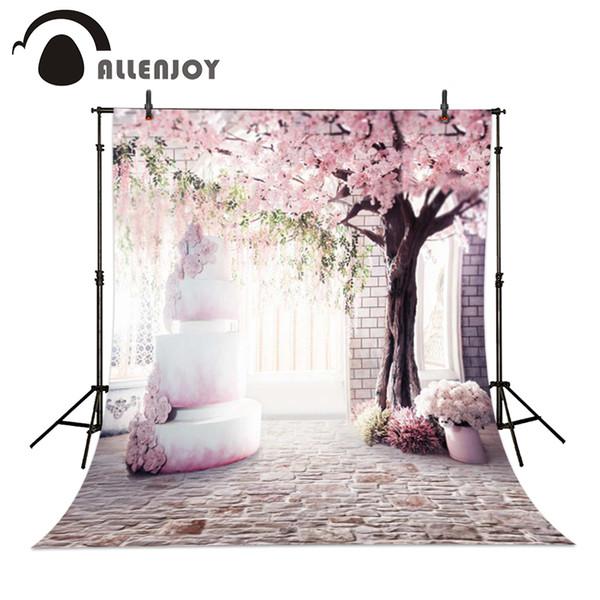 Allenjoy 6.5ft * 10ft rosa flor de cerejeira Fundo da parede de tijolo bolo com cerejeiras cenários de Fotografia Estúdio Para o bebê Foto