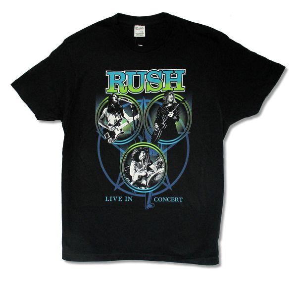 Rush Live in Concert Classic Pics Schwarzes T-Shirt für Herren Geddy Lee Neil Peart Prog
