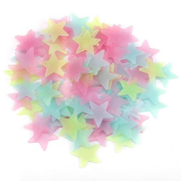 4 Color 3D Stars Luminous Fluorescent Wall Stickers With Adhesive Baby Kids Rooms Decoration 3cm B